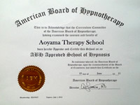 American Board of Hypnotherapy(米国催眠療法協会) のインストラクター認定証