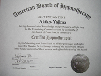 American Board of Hypnotherapy(米国催眠療法協会) のヒプノセラピスト認定証